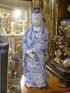 A Japanese Meiji period blue and white Guanyin figure
