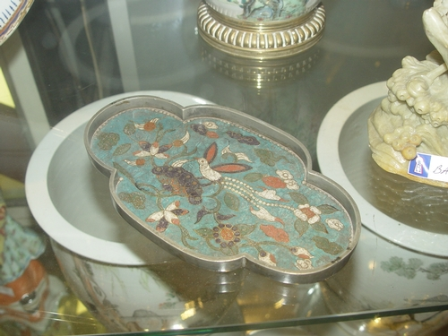Chinese plate, cloisonne