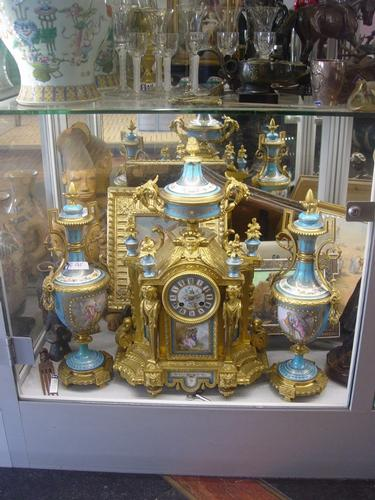 Garniture 3pcs bronze et sevres 19th c