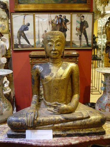 Large seated  thailand bronze buddha 18th C