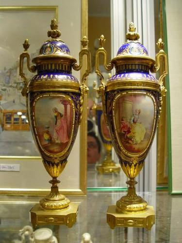 Pair of french porcelain vases with gilt bronze. sevres style late 19th C